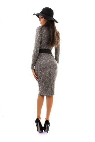 Вязанное платье-футляр, миди, серое 2
