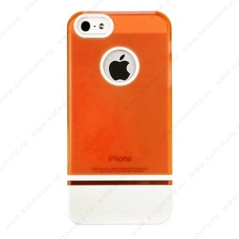 Накладка MOBILE 7 для iPhone SE/ 5s/ 5C/ 5 красный верх белый низ