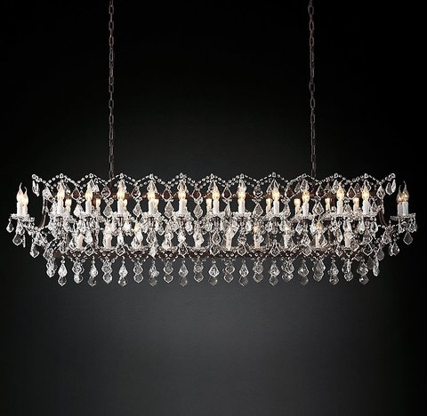 Подвесной светильник копия 19th C. Rococo Iron & Clear Crystal Rectangular Chandelier 74