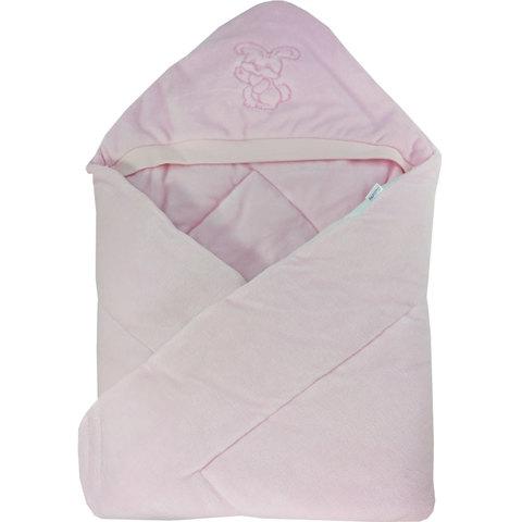 Папитто. Конверт-одеяло велюр с вышивкой, розовый вид 1