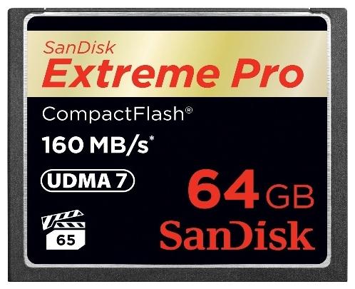 Compact Flash SanDisk Extreme Pro 64GB 160MB/s - скорость флеш-карты (Карта памяти CF подойдет для фотоаппарата Canon, Nikon, Sony и других устройств)