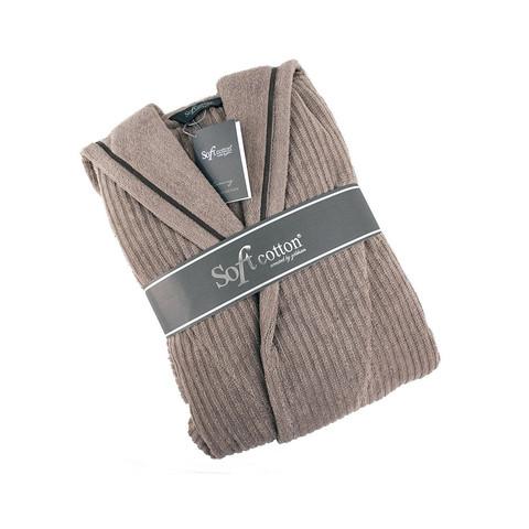Банный халат мужской Stripe с капюшоном SOFT COTTON Турция