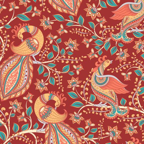 Павлины на ветках, бордовый фон. Индийский стиль. Каламкари. (Дизайнер Irina Skaska)