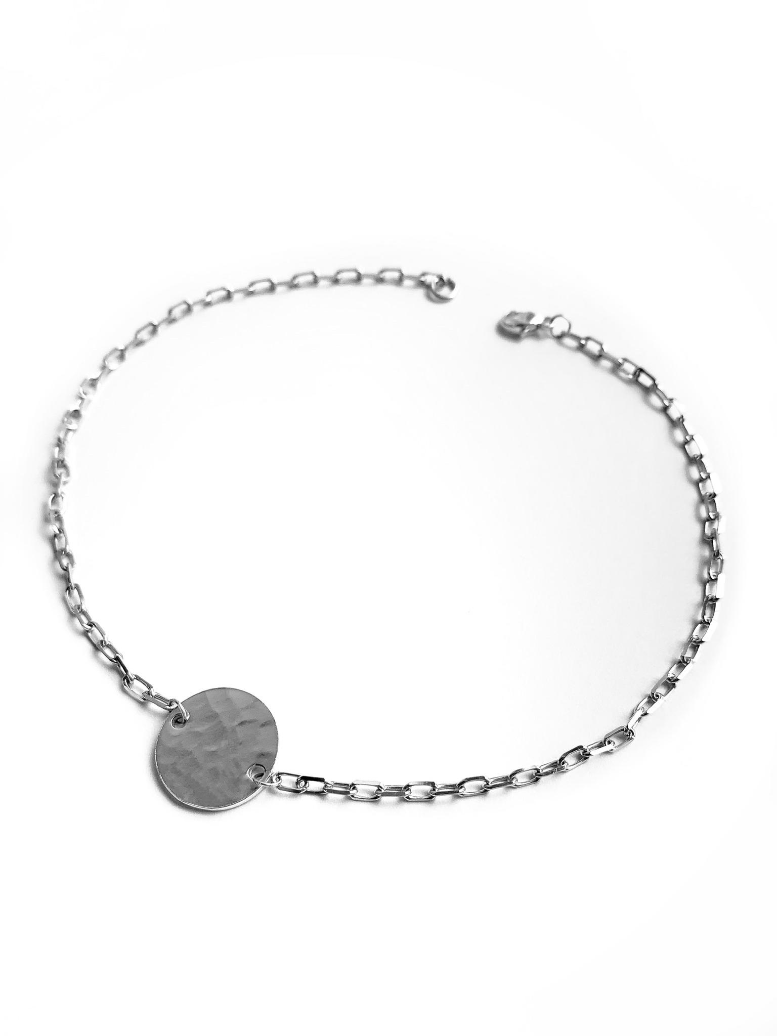 Серебряный браслет с битым медальоном