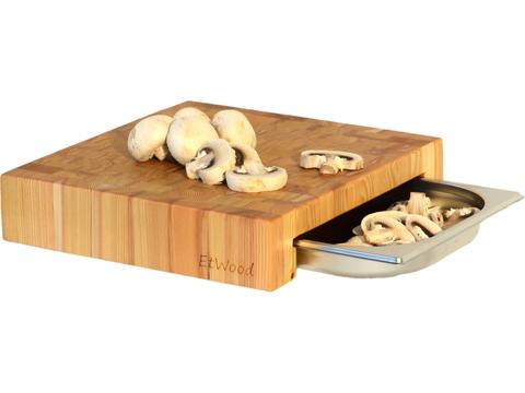деревянная  торцевая разделочная доска из лиственницы с гастроемкостью столярной мастерской EtWood
