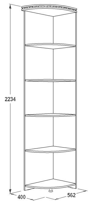 Стеллаж угловой левый «Ольга-13» 400 (венге/млечный дуб), ЛДСП, Фант-мебель