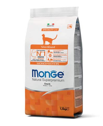 Monge Cat Monoprotein Sterilised Duck корм для стерилизованных кошек с уткой 1,5 кг