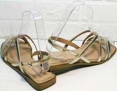 Женские кожаные сандалии без каблука Wollen M.20237D ZS Gold.