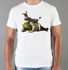 Футболка с принтом мультфильма Шрек (Shrek)  белая 002