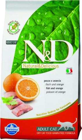 Farmina N&D беззерновой корм для взрослых кошек. Рыба, апельсин.