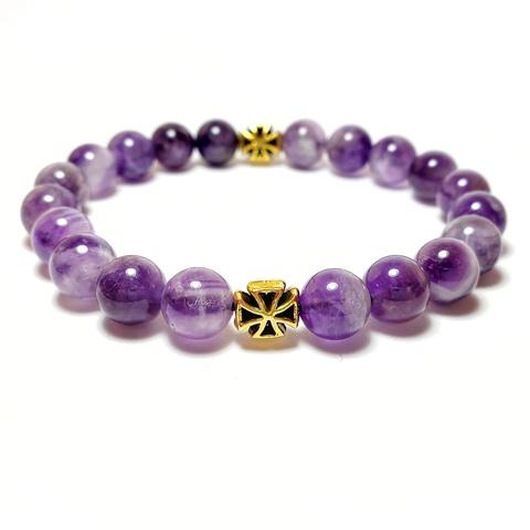 Браслет четки православные из натуральных камней фиолетового аметиста с крестом на руку. На резинке. 20 бусин