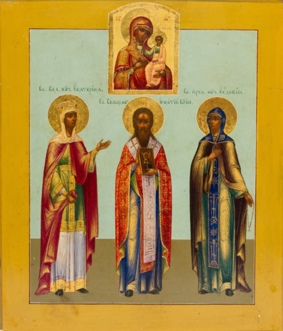 Икона святые Екатерина, Игнатий и Евдокия на дереве на левкасе мастерская Иконный Дом