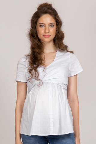 Блузка для беременных и кормящих 10365 белый