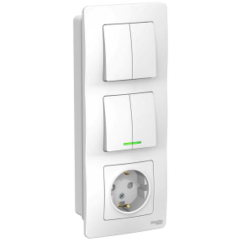 Блок: Розетка з/к шт 16А, 250В + Выключатель 2-кл. с подсветкой + Выключатель 2-кл. Цвет Белый. Schneider Electric Blanca. BLNBS102211