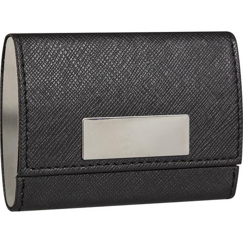 Визитница карманная на 20 визиток из искусственной кожи черного цвета (80103)
