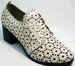 Летние босоножки туфли дерби женские Arella 426-33 White.