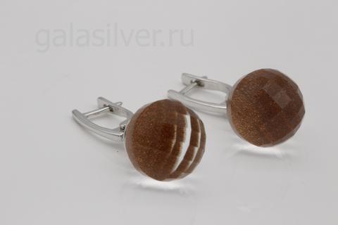 Серьги с горным хрусталем и авантюрином из серебра 925
