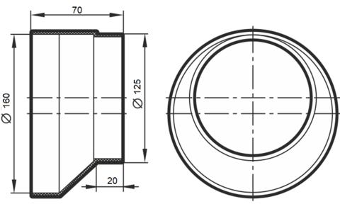Соединитель-редуктор эксцентриковый 125х160