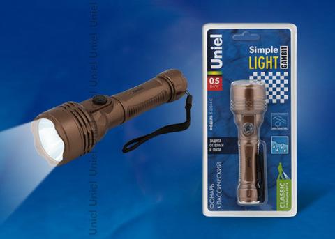 S-LD044-C Brown Фонарь Uniel серии Стандарт «Simple Light — Gambit», пластиковый корпус, 0,5 Watt LED, упаковка — кламшелл, 2хАА н/к, цвет коричневый