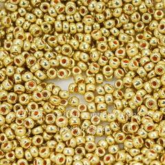 18586 Бисер 8/0 Preciosa Кристалл Металлик горчичный