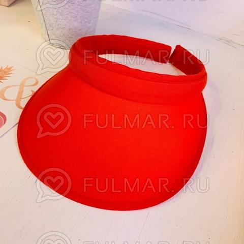 Красный козырёк-ободок от солнца на голову