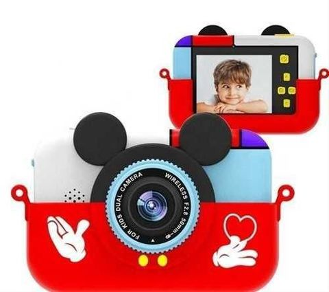 Детский цифровой фотоаппарат Микки Маус Красный  2 камеры