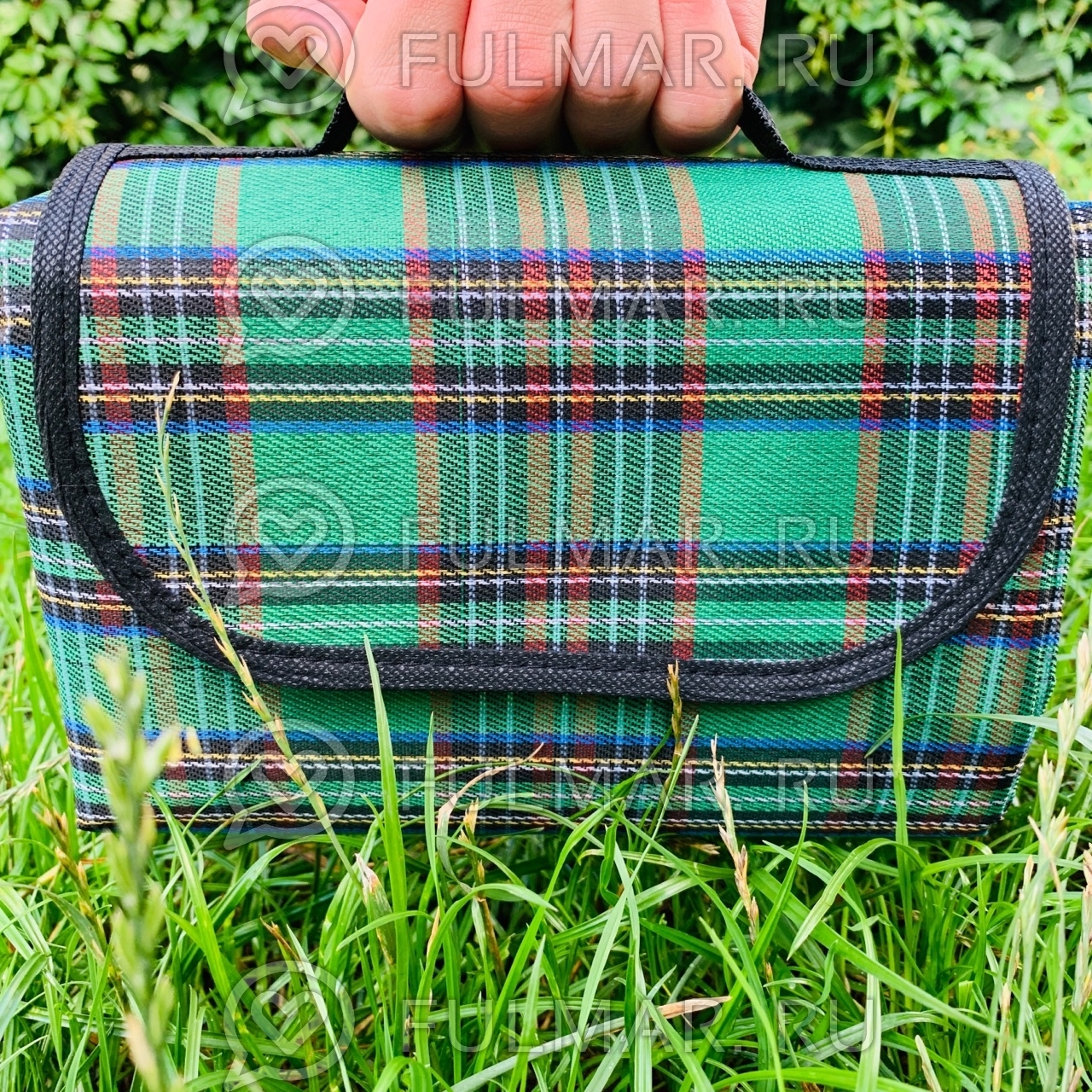 Складной туристический коврик для пикника 180х150 см Зелёный фото