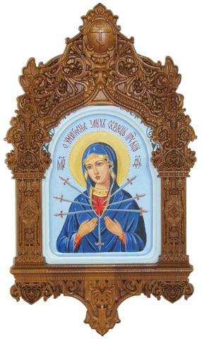 Рукописная икона Образ Божией Матери Умягчение злых сердец на кипарисе 20х15см в резном киоте
