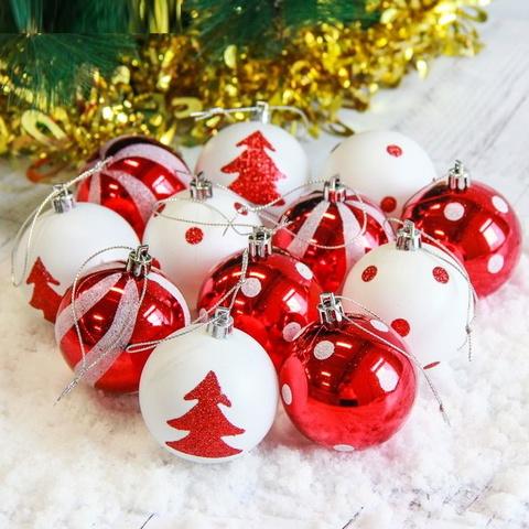 Оригинальный набор ёлочных шаров Красно-Белые