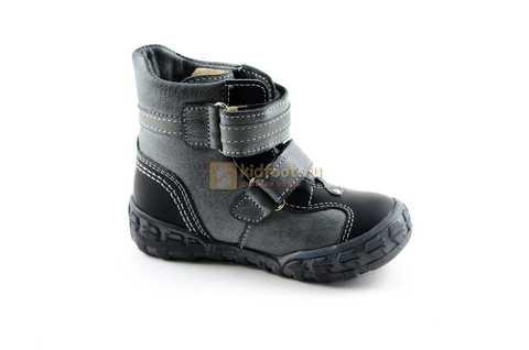 Ботинки Тотто из натуральной кожи демисезонные на байке для мальчиков, цвет черный. Изображение 2 из 10.