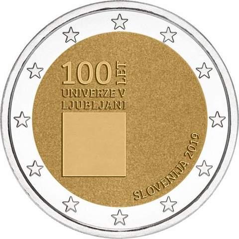 2 евро. 100-летие со дня основания Люблянского университета. Словения. 2019 год