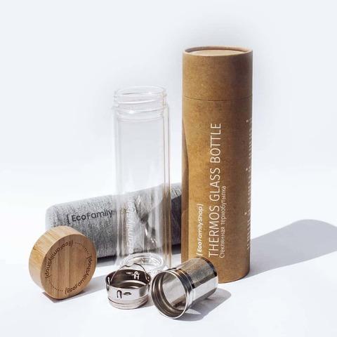 Бутылка из двойного боросиликатного стекла +чехол+подарочный тубус. Объем 450 мл