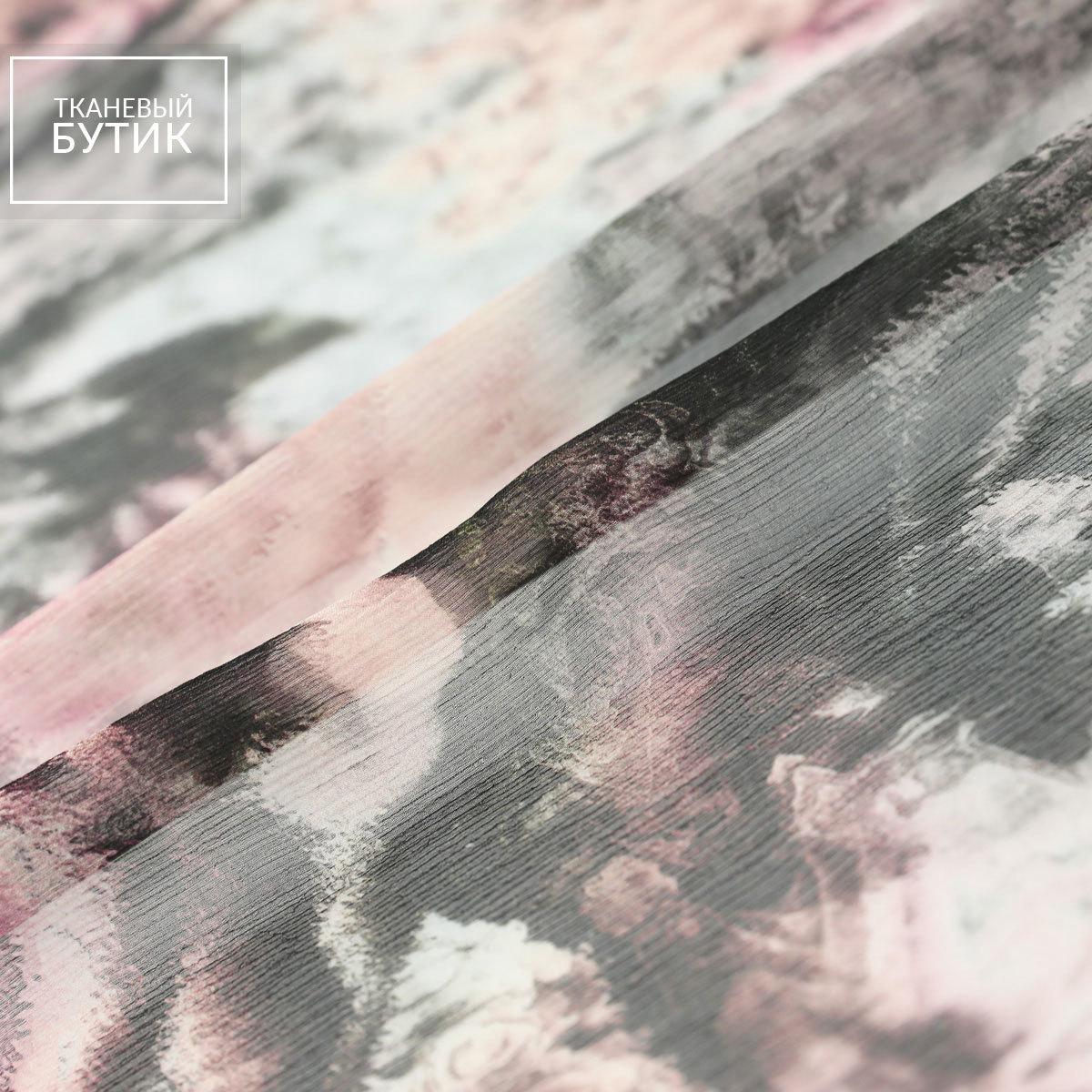 Шелковый жатый шифон с розами