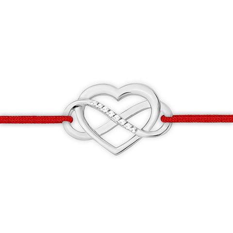 Браслет-красная нить с сердцем и бесконечностью  из серебра