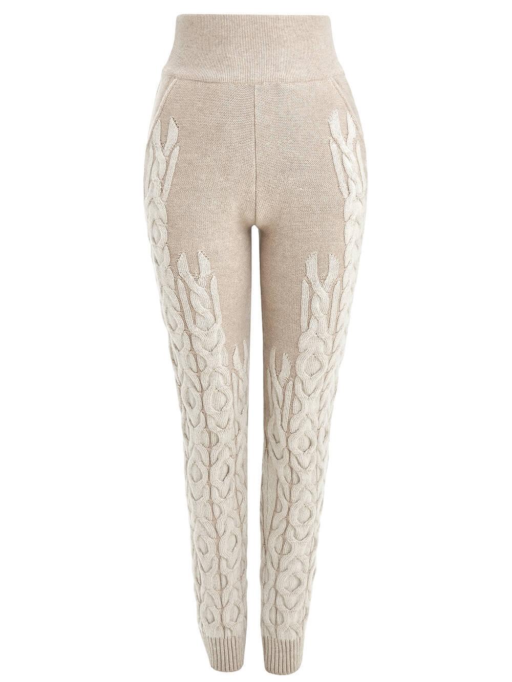 Женские брюки бежевого цвета из 100% кашемира - фото 1