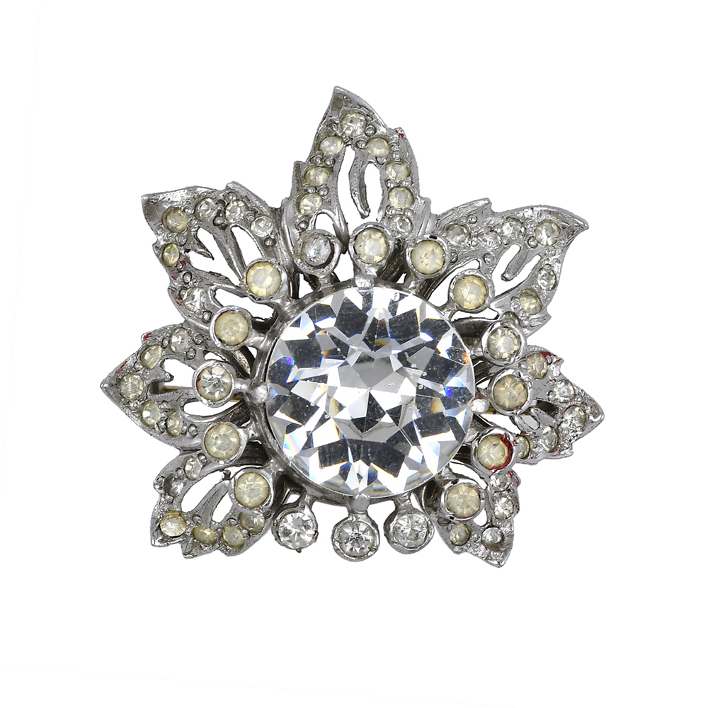 Spectacular silver brooch with crystals by Eisenberg, 1940s