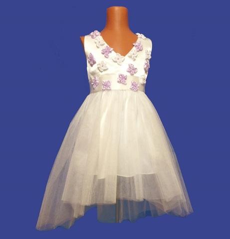 Платье со шлейфом бело-сиреневое