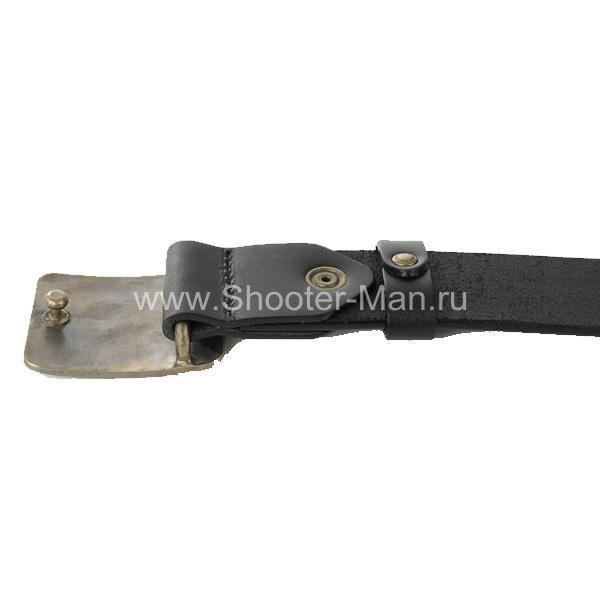 Ремень кожаный с латунной пряжкой GUNS.RU