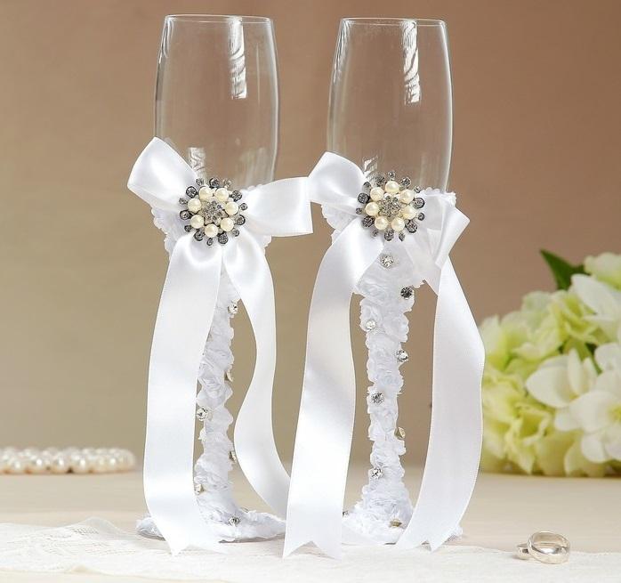 Набор свадебных бокалов «Жемчужина», белые, 250 мл