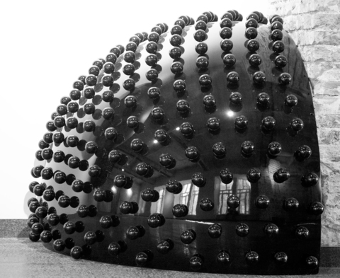 1/10 sphere black glossy with balls Ø=0,06m