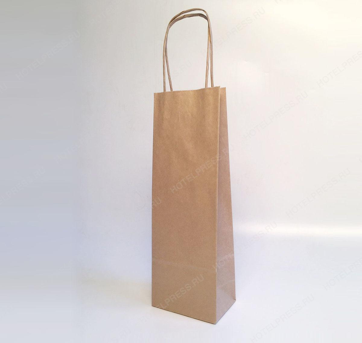 Бумажный крафт пакет с крученными ручками