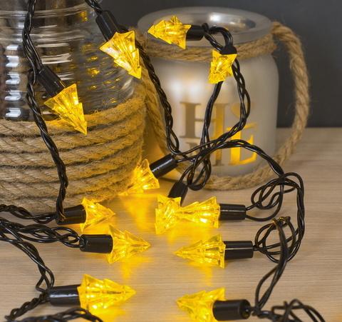 Жёлтые ёлки Гирлянда улично-комнатная с насадками 5 метров, 8 режимов