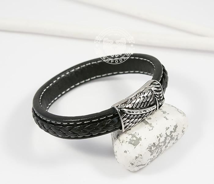 BM399 Стильный мужской браслет из кожи черного цвета и стали (21,5 см) фото 03
