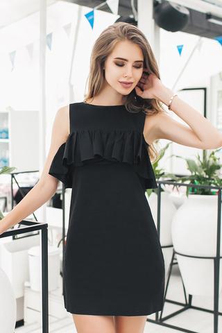 Короткое платье с воланом, черное