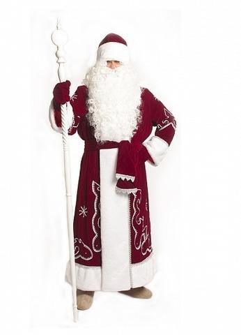 Костюм Деда Мороза из красного бархата с орнаментом