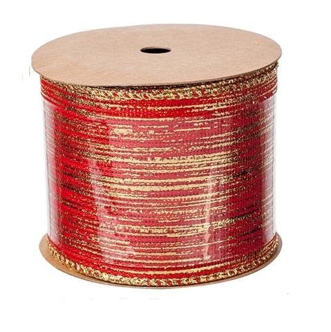 Лента декоративная с полосой, (размер:60мм х 3м) цвет: красная/золотая