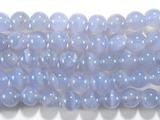 Нить бусин из халцедона голубого, шар гладкий 10мм