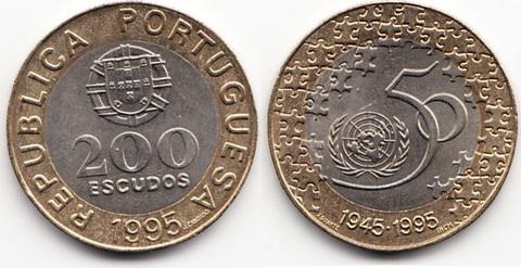 """200 эскудо 1995 год """" 50 летие ООН"""""""