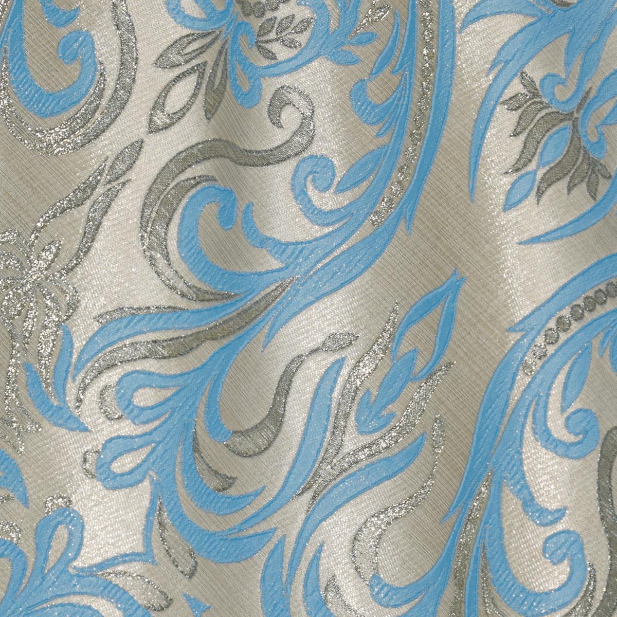Полиэстеровый жаккард золотисто-бежевого цвета с голубым орнаментом