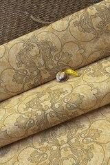 Натуральная льняная ткань рисунок вензель золото
